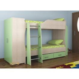 Каркас 2-х ярусной кровати с ящиками полками и шкафом