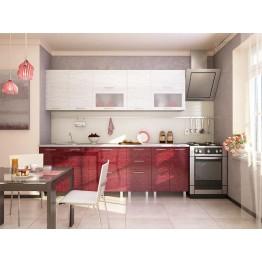 Модульная кухня Валерия (страйп белый/красный)