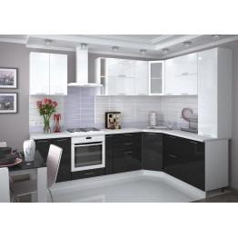 Модульная кухня Валерия (металлик белый/черный)