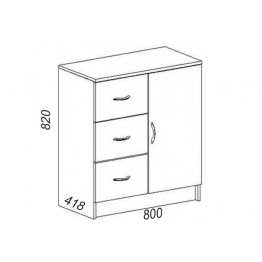 Комод КМ 553,3 ящика и дверь