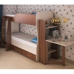 Каркас 2-х ярусной кровати с ящиками,полками и столом